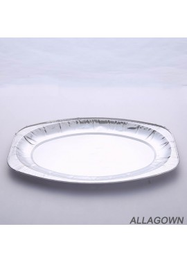 20pcs Disposable Dish Plate Eco-Friendly Aluminum Foil Plate Length 350mm Width 240mm Height 20mm