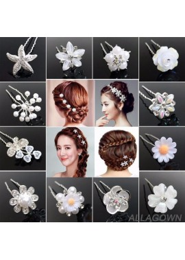 Bridal Plate Hair Jewelry Flower Hairpin Hairpin Diamonds Three Pieces