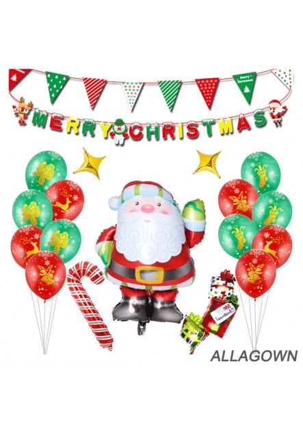 Santa Balloon Set Holiday Decoration Party Decoration Supplies 12 Balloons a Santa Claus Two Banners