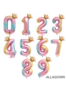 32 Inch Gradient Color Balloon A Balloon With A Crown On The Colorful Numbers
