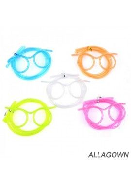 10PCS Creative Funny Children's Eye Art Straw Hose Length 63 CM And 35.5 CM Eye Frame 12 CM