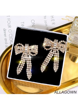 Butterfly Diamond Long Earrings Bow Shape