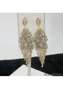 Crystal Tassel Earrings Cubic Zircon Drop Earrings 12.6*3CM