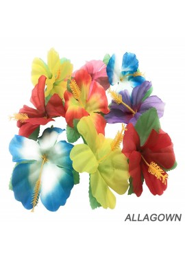 24pcs Hawaii Theme Desktop Decoration 11cmSsimulation Hibiscus Hibiscus Fower