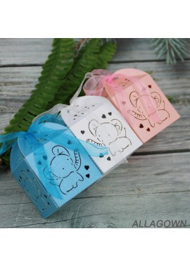 50pcs New Hollow Sugar Box Baby Elephant Laser Candy Gift Box