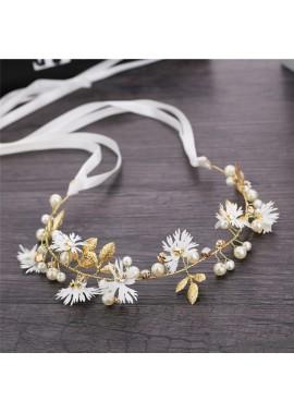 Simple Little Daisy Crystal Twisted Beads Handmade Hair Band Length About 33CM