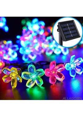LED Solar Light String Cherry Blossom Flower Shape Flashing Light Peach Blossom Light String