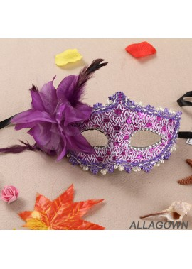 Lace Rhinestone Leather Mask