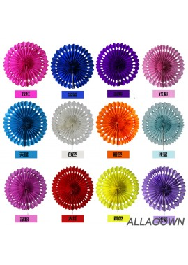 10PCS Single Layer Hollow Colorful Paper Fans 8 Inchs