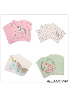 2 Sets Of Cartoon Unicorn Tissues 33*33CM