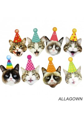 Birthday Cat Pulls Flag Funny Cat Face Decoration, Hanging Decoration With Eight Different Cat Faces