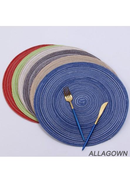6PCS Nordic Cotton Yarn Round Table Mat Round Diameter 11CM