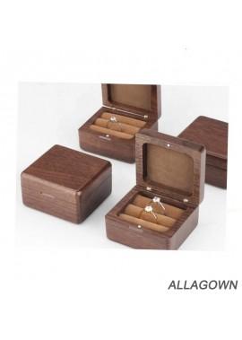 Black Walnut Wooden Box Wedding Wooden Flip Ring Box Length 8CM Width 8CM Height 8CM