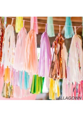 Paper Tassel Aluminum Foil Tassel Curtain Birthday Event Celebration Party Decoration