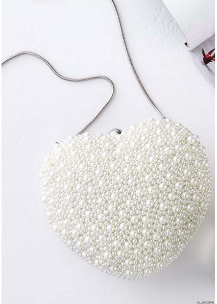 Handmade Heart-Shaped Pearl Bag Cute Handbags