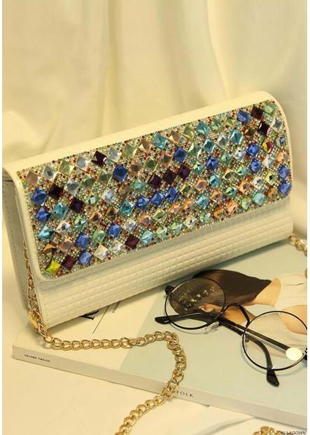 Female One Shoulder Chain Color Diamond Handbags
