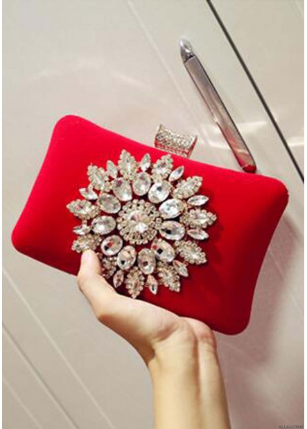 Diamond-Encrusted Evening Soft Face Lock Buckle Female Handbags
