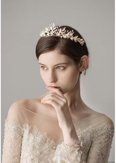 Mori White Lacquered Leaf Wedding Dress Tiaras