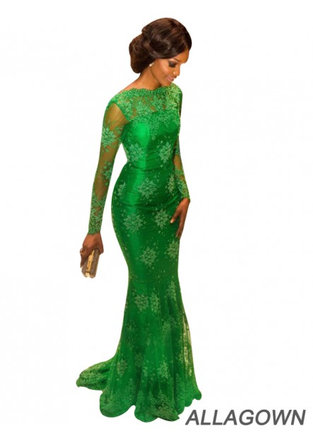 Long Sleeves Green Mermaid Long Evening Gown