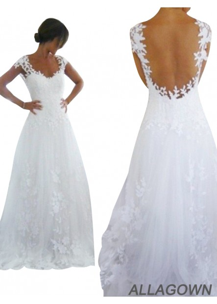 Allagown White Backless Lace 2021 Wedding Dresses In USA