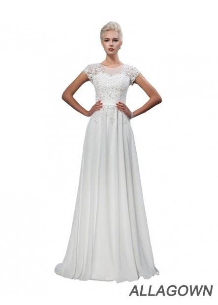 Allagown 2021 Scoop Neck High Waist Cheap A Line Wedding Dresses