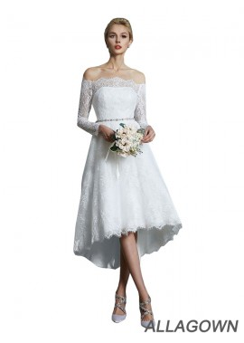 Allagown 2021 Long Sleeves Short Lace Wedding Dress