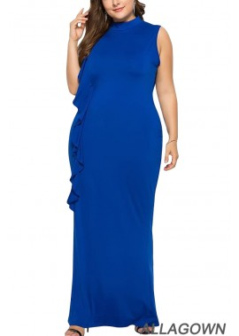 Ruffles Trim Sleeveless Mock Neck Casual Plus Size Dress