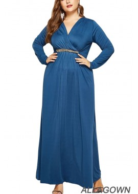 V Neck Wrap Long Sleeve Tied Back Casual Plus Size Maxi Dress