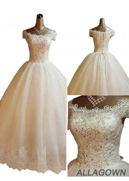 Allagown Best 2021 Plus Size Ball Gowns / Bridal Gowns With Beading