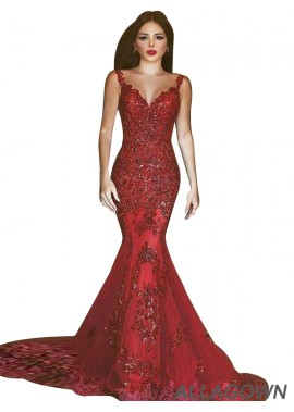 Allagown Red Mermaid Long Formal Evening Dresses For Women 2020