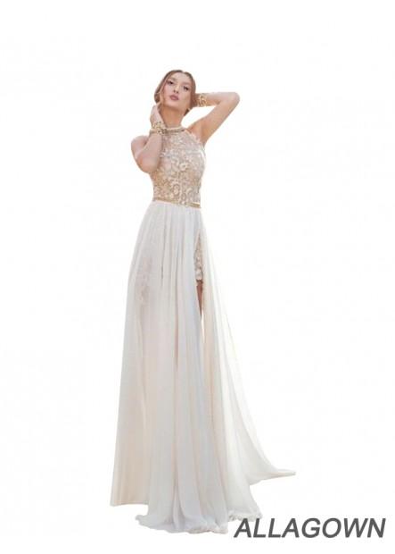 Allagown High Neck Long Women Formal Evening Dresses For Wedding