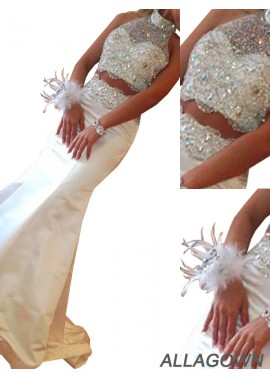 Allagown Two Piece Long Mermaid Long Prom Evening Dress
