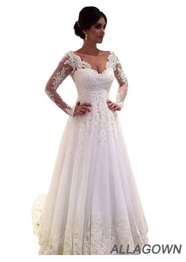 Allagown 2021 Backless Wedding Dresses With See Through Long Sleeves