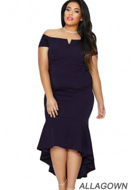 Short Sleeve Off Shoulder Sexy Plus Size Mermaid Dress