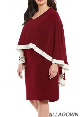 Ruffles Cloak Sleeve V Neck Contrast Casual Plus Size Dress