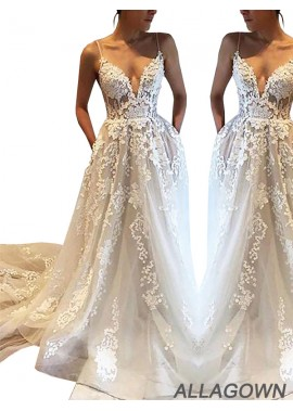 Allagown Women 2020 Lace Cheap Wedding Gowns For Sale
