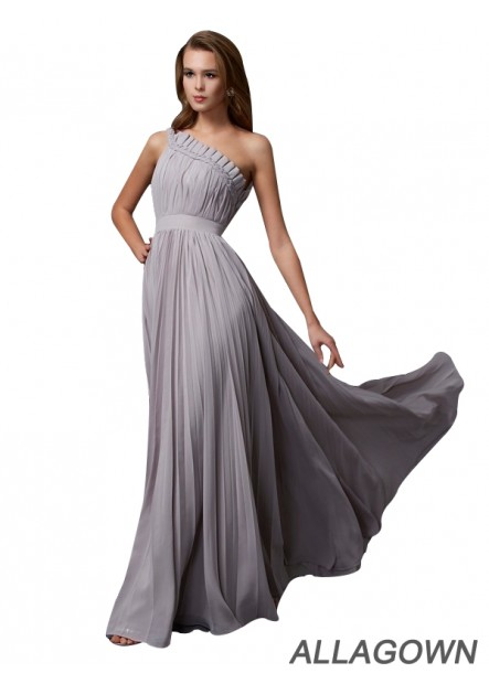 Allagown One Shoulder Long Prom Evening Dresses With Ruched