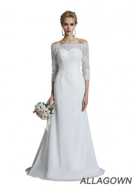Allagown 2021 Off The Shoulder Sheath Wedding Dresses For Brides