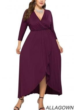 V Neck Wrap Ruffles Casual Plus Size Dress
