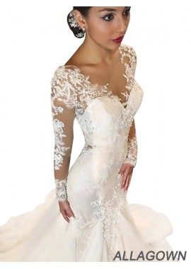 Allagown 2020 Beautiful Long Sleeves Wedding Dresses 2020