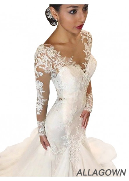Allagown 2021 Beautiful Long Sleeves Wedding Dresses 2021
