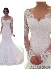 2021 Mermaid V Neck Long Sleeves Wedding Dress