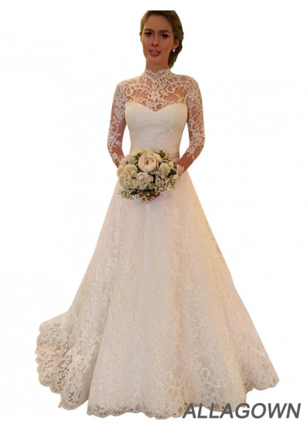 Allagown 2021 High Neck Wedding Ball Gowns With Long Sleeves In Size 18