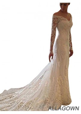Allagown 2020 Long Sleeves V Neck Lace Wedding Dresses