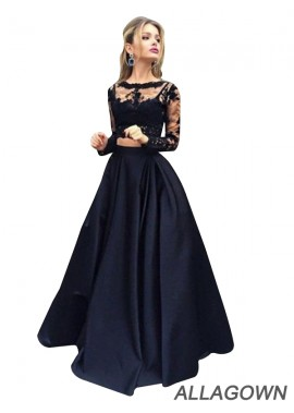 Allagown Lace Black Long Prom Evening Dress