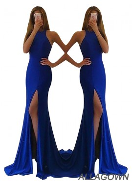 Allagown Cheap High Neck Royal Blue Long Prom Gowns In Size 16