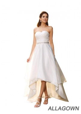 Allagown 2021 Sweetheart Simple Short Wedding Dresseses With Sash