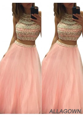 Allagown Two Piece Long Prom Evening Dress
