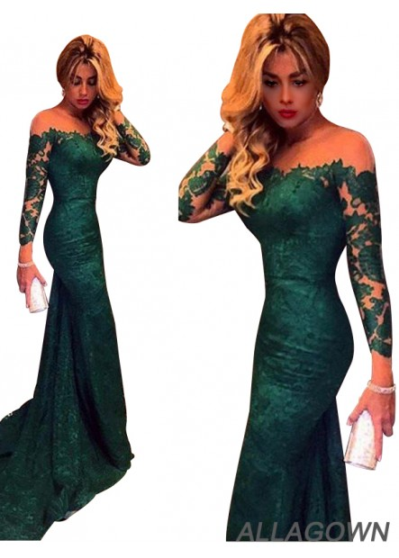 Allagown Green Mermaid Long Prom Evening Dresses With Long Sleeves