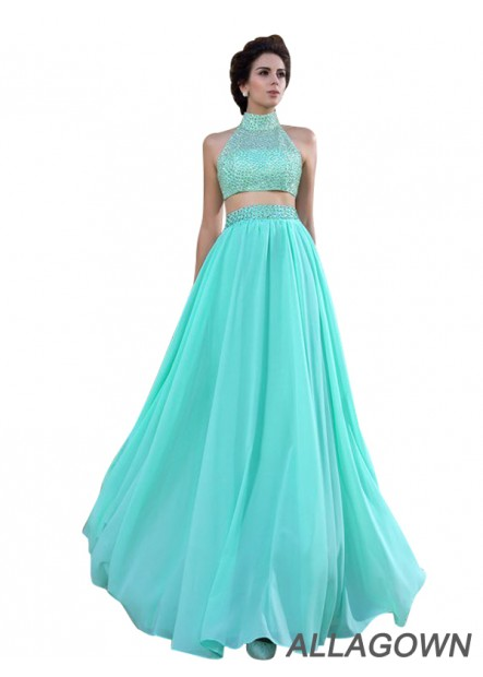 Allagown Two Piece High Neck Green Long Prom Dresses